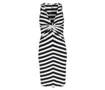 Gestreiftes Kleid mit Knotendetail aus Viskose-Stretch