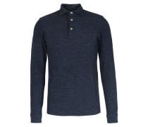 Meliertes Langarm-Poloshirt aus Schurwoll-Baumwoll-Mix Denim