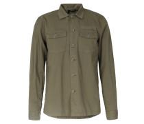 Denim Safarihemd Chest Pockets Khaki