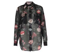 Seidenbluse Mit Floralem Print True Black Multi