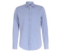 Gestreiftes Baumwollhemd mit Logo-Stitching