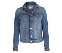 Jeansjacke Kioki Bleu Im Used-look Mit Zipper Mittelblau
