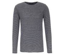 Pullover aus Alpaka-Merinowoll-Mix Blaugrau gestreift