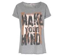 Baumwoll-shirt Mit Metallic-print Grau