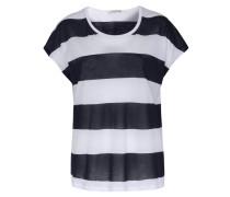 Gestreiftes Baumwoll-shirt Dunkelblau/weiß