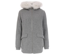 Strickhoodie Wool Cotton Jacket mit Fell Smoke Grey