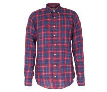 Kariertes Button-down-leinenhemd Blau/rot