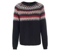 Pullover mit Lurex-Details und Norweger-Muster Schwarz/Bunt