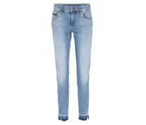 Mid-Rise Skinny Twisted Ankle Jeans Hellblau