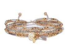 Wickelarmband mit Goldfarbenen Details und Zierperlen -