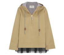 Jacke aus Baumwoll-Twill mit Tüllbesatz und Polka-Dots