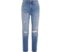 The Perfect Vintage hoch sitzende Jeans mit geradem Bein in Distressed-Optik
