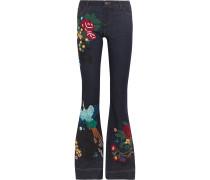 Ryley tief sitzende ausgestellte Jeans mit Stickereien