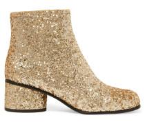 Camilla Ankle Boots Aus Leder Mit Glitter-finish - Gold