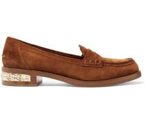 Loafers aus Veloursleder mit Kristallverzierung