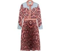 Kleid aus plissiertem Seidensatin mit Paisleyprint