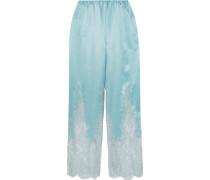 Cosmic Love Chantilly Pyjama-hose Aus Seidensatin Mit Spitzeneinsatz -