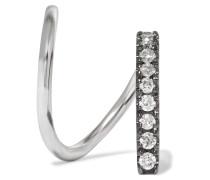 Bela Mono Twirl Ohrring Aus 14 Karat Weißgold Mit Rhodiumauflage Und Diamanten - Silber