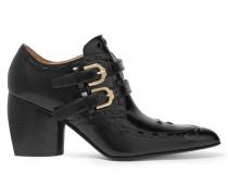 Ankle Boots Aus Glanzleder Mit ösenverzierung - Schwarz