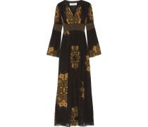 Blair Robe Aus Bedrucktem Seidenchiffon In Knitteroptik Mit Verzierung - Schwarz