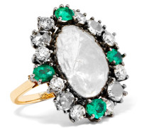 Ring Aus 14 Karat Gold Und  Mit Smaragden Und Diamanten