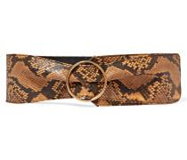 Taillengürtel Aus Leder Mit Schlangeneffekt - Bronze