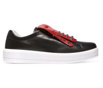 Nietenbesetzte Sneakers Aus Zweifarbigem Leder - Schwarz