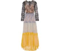 Robe Aus Spitze In Colour-block-optik -