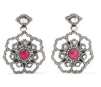 Ohrringe aus 18 Karat Gold mit Diamanten und Rubinen -