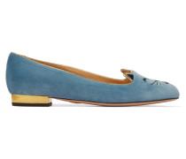 Cheeky Kitty Bestickte Slippers Aus Samt - Blau