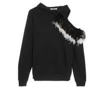 Sweatshirt Aus Baumwoll-jersey Mit Kapuze, Cut-out Und Federverzierung - Schwarz