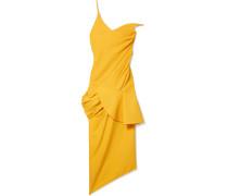La Robe Sol Gerafftes Midikleid aus Canvas mit Asymmetrischer Schulterpartie -