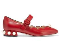 Mary-jane-pumps Aus Leder Mit Verzierung - Rot