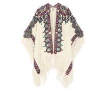 Havelli Bestickter Poncho Aus Alpakawolle Mit Fransen - Ecru