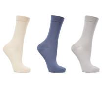 Set Aus Drei Paar Socken Aus Einer Baumwollmischung - Beige
