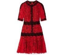Minikleid aus Schnurgebundener Spitze aus einer Baumwollmischung und Guipure-spitze -