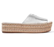 Verzierte Espadrille-sandalen Aus Metallic-leder -