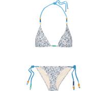 Bedruckter Triangel-bikini Mit Perlen - Hellblau