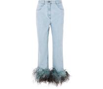 Boyfriend-jeans mit Federbesätzen -