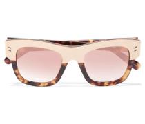 Verspiegelte Sonnenbrille Mit Cat-eye-rahmen Aus Azetat Und Goldfarbenen Details - Horn