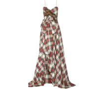 Verzierte Robe Aus Wolle Mit Karomuster -