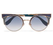 Ora Goldfarbene Sonnenbrille Mit Cat-eye-rahmen Und Lederdetail Mit Glitter-finish - Blau