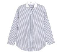 Gestreiftes Hemd Aus Stretch-baumwollpopeline Mit Verzierung - Blau