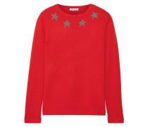 Star Spangle Pullover Aus Einer Kaschmirmischung Mit Metallic-intarsienmotiven - Rot