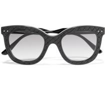 Sonnenbrille aus Azetat und Intrecciato-Leder mit eckigem Rahmen