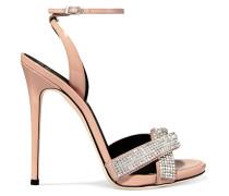 Kristallverzierte Sandalen Aus Lack- Und Veloursleder -