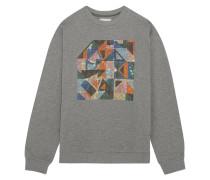 Geometric Sweatshirt Aus Jersey Mit Verzierung Aus Swarovski-kristallen - Grau