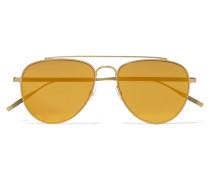 Verspiegelte Pilotensonnenbrille Mit Goldfarbenem Gestell - Gelb