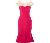 Kleid Aus Stretch-crêpe Mit Besticktem Tüllbesatz -
