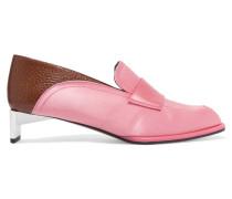 Loafers Aus Satin Und Strukturiertem Leder -